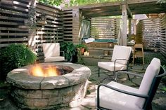 fire pit, hot tub, seating