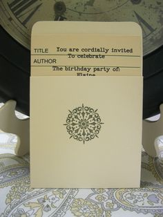 A library themed party invitation - how cool would that be for a school party?