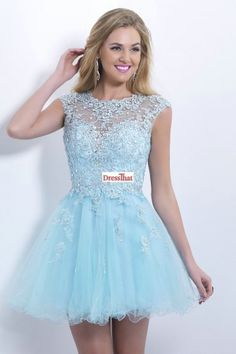 Pretty A-line Short Applique Beading Tulle Open Back Homecoming Dresses/Party Dresses HD-70181