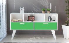 Idea Store - Compre (BALCÃO BUFFET PARA SALA 02 GAVETAS VERDE CRISTAL 135X38,5X73 CM)