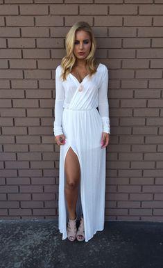White Slit Long Sleeves Sexy Maxi Dress | Kizzang | Pinterest ...
