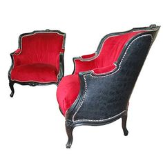 Ensemble fauteuils baroque, rouge, contemporain, design, ambiance soleil, annecy,