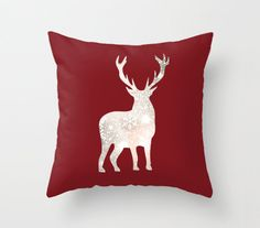 Reindeer Christmas Pillow Cover . This cushion fits in all room types.  Cozy up with this stylish art throw pillow cover from AnnieColor. It has been