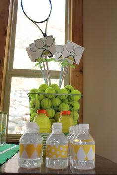 Decoration, Small Picture Nice Window Good Glass Material Picture Good White Wall Small Ball Shaped Green Color Good Window Wall White Color Small Bottle: How To Designs The Beautiful Of Tennis Party Decorations That Look So Nice And Cool Tennis Clubs, Sport Tennis, Tennis Tips, Tennis Gear, Tennis Party, Sports Party, Tennis Table, Tennis Decorations, Tennis Crafts