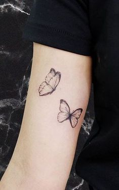 Inner Elbow Tattoos, Floral Thigh Tattoos, Rose Tattoos For Women, Butterfly Tattoos For Women, Mini Tattoos, Body Art Tattoos, Stomach Tattoos, Small Girly Tattoos, Simple Butterfly Tattoo