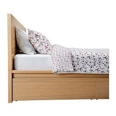MALM High bed frame/4 storage boxes, white stained oak veneer, Luröy - Queen - Sultan Luröy - IKEA