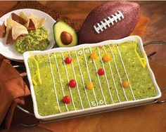 Football Art - Include some simple food art because it'd be wrecked when they taste how great your food is! More ideas on Super Bowl party deco here - http://www.rewards4mom.com/10-adorable-super-bowl-party-decoration-ideas/
