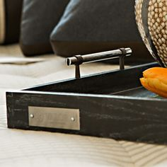ALBANY- a tray of lime oak with metal accents. Add a bit of sophistication to any setting. Classic simplicity.