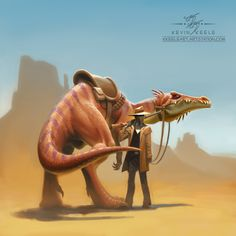 The Frontier Lawman and the Deputized Dinosaur, Kevin Keele on ArtStation at https://www.artstation.com/artwork/AyN55