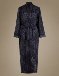 Buy the Satin Floral Belted Wrap Dressing Gown from Marks and Spencer's range. Dressing, Lingerie Sets, Satin, Gowns, Floral, Stuff To Buy, Collection, Fashion, Dresses