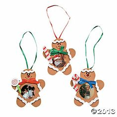 gingerbread craft images | Gingerbread Man Photo Frame Ornament Craft Kit - Oriental Trading