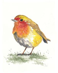 Robin in the Grass ORIGINAL Watercolor Painting por WaterInMyPaint