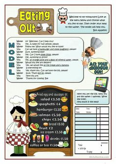 EATING OUT worksheet - Free ESL printable worksheets made by teachers Food Vocabulary, Vocabulary Worksheets, English Vocabulary, Printable Worksheets, Preschool Worksheets, English Teaching Materials, Teaching English, Teaching Spanish, English Lessons