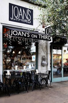 Joan's on Third (across the street from Noodle Stories, Los Angeles, clothing shop). Cafe and gourmet goods market, Cafe Bistro, Cafe Bar, Boutiques, Hotel Restaurant, Restaurant Seating, Cafe Shop, City Of Angels, Shop Fronts, California Dreamin'