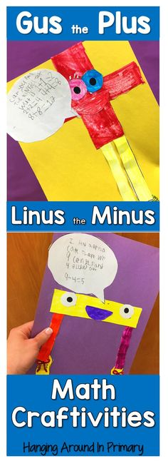 Introduce addition and subtraction with Gus and Linus. Your students will love making these craftivities and it will help them associate the symbol with the operation. Teaching Addition, Math Addition, Addition And Subtraction, Math Classroom, Kindergarten Math, Teaching Math, Teaching Resources, Teaching Materials, Teaching Ideas