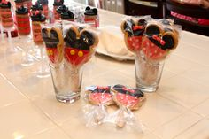 Minnie Mouse Birthday Party Ideas - For favors, I made Minnie Mouse and Mickey Mouse sugar cookies on sticks decorated with homemade fondant.