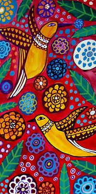 Hummingbirds Art Birds Folk Art Flower Poster Art of Painting Print Landscape