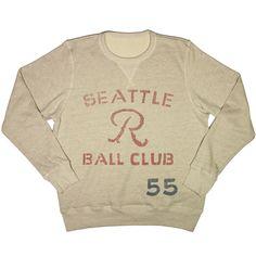 A authentic Seattle Rainiers vintage sweatshirt by Ebbets Field Flannels. Vintage Sweaters, Vintage Tees, Vintage Sport, Vintage Cotton, Graphic Tees, Graphic Sweatshirt, Apparel Design, Mens Sweatshirts, Vintage Outfits