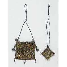 Purse, English, 1600-1625; Victoria & Albert Museum No. T.52&A-1954; view with full cord lengths visible
