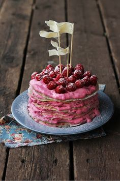 Yum! Raspberry crepe cake. (http://blog.hgtv.com/design/2013/04/02/april-color-of-the-month-raspberry/?soc=Pinterest)
