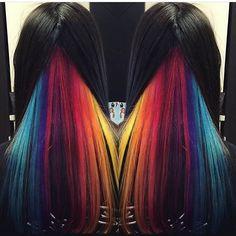 A hidden Rainbow @thehairdoctor101 #behindthechair #rainbowhair #vibranthair…