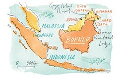 Illustrated map of Borneo, by Heather Gatley