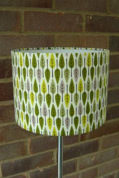 Vintage Retro 1950's Style leaf Fabric Lampshade. Lovely shades of green and grey