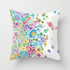 Inner Circle - white Throw Pillow by Catherine Holcombe White Throw Pillows, Decorative Throw Pillows, Interior Paint Colors For Living Room, Cushion Embroidery, White Cushion Covers, Fabric Paint Designs, Diy Pillow Covers, Hand Painted Fabric, Mini Quilts