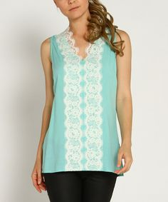 Look at this Mint Lace V-Neck Sleeveless Top on #zulily today!
