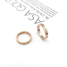 Roman Numeral Ring, Roman Numerals, Place Card Holders, Wedding Rings, Rose Gold, Lettering, Engagement Rings, Steel, Jewelry