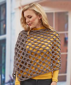 This easy-to-wear shawl is fun to crochet and goes quickly. Made in a shaded yarn with a bit of sparkle, you'll enjoy it for day or evening wear.