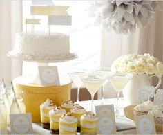 grey, white and yellow baby shower