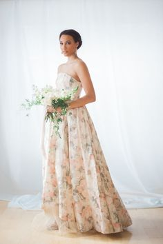Dreamy floral printed gown: http://www.stylemepretty.com/canada-weddings/ontario/niagara-on-the-lake-ontario/2016/05/02/all-the-inspiration-you-need-for-your-jasmine-filled-wedding/ | Photography: Gemini Photography - http://geminiphotographyontario.com/