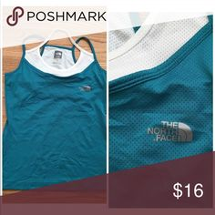 """North Face Active Tank North Face mesh layered active top. White and teal. Nylon and spandex blend. North Face logo on front. Excellent condition.  Size Small 17"""" across at bust  24"""" long North Face Tops Tank Tops"""