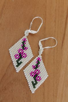 Items similar to Alaskan Fireweed Handmade Beaded Earrings on Etsy Beaded Earrings Native, Beaded Earrings Patterns, Seed Bead Patterns, Beading Patterns, Seed Bead Jewelry, Bead Jewellery, Seed Bead Earrings, Brick Stitch Earrings, Bead Jewelry