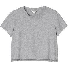 Monki Pia tee (12 CAD) ❤ liked on Polyvore featuring tops, t-shirts, shirts, soft concrete, crew-neck shirts, crew neck t shirt, crop shirts, crew-neck tee and crop top