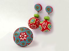 earring, mothers day, Polymer clay Ohrpendel millefiori Fimo Pardo von polymerdesign