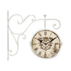 White Iron Vintage-Inspired Double-Sided Wall Clock with Scroll Wall Mount