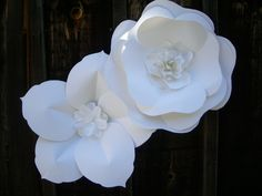 """Extra Large Paper Flowers - White paper flowers - perfect for photos and ceremony backdrop! Flowers measures over 20"""" diameter! -- Designed by Dragonfly Expression -"""