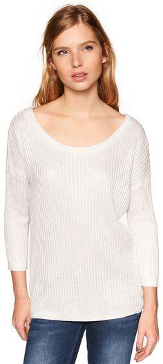 metallic Strick-Pullover für Frauen (unifarben, 3/4-Arm mit Rundhals-Ausschnitt) aus Strick mit Ripp-Struktur, mit Beschichtung für ein silberfarbenes Glanz-Finish, Metall-Coin mit Logo-Prägung. Material: 60 % Viskose 40 % Baumwolle...