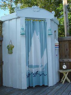 Awesome Outdoor Home Design Ideas in Patio Rustic design ideas with cabana deck nautical outdoor lighting outdoor shower Outdoor Baths, Outdoor Bathrooms, Outside Showers, Outdoor Showers, Outdoor Shower Enclosure, Pool Shower, Rustic Patio, Rustic Room, Nautical Bathroom Decor