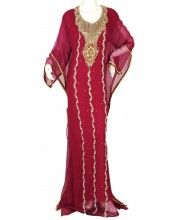 "aljalabiya.com: ""The Comely Kaftan"" Pure chiffon butterfly jalabiya with hand embroidery (N-10282)  $129.00"
