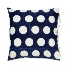 """Les Indiennes Reverse Dot Indigo Euro, as seen in May 2015 House Beautiful Issue is a hand blocked printed pattern on natural cotton.We currently have 2 shams in stock.*Tie closureEuro -""""26"""" x 26""""Insert not included.Les Indiennes textiles are made entirely by hand from pure cotton and natural dyes. Smudges and other imperfections are normal. In stock items will ship immediately. If an item is not in stock please allow 2-4 weeks for delivery. If item is back-ordered or delayed, we will…"""