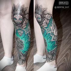ANTON DERTIN Wicked Tattoos, Badass Tattoos, Body Art Tattoos, Girl Tattoos, Sleeve Tattoos, Tattoos For Guys, Knee Tattoo, Calf Tattoo, Bright Tattoos