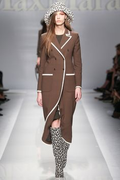 Brown & White Double Breasted Coat - Spring 2015 Ready-to-Wear - Max Mara