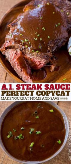 Steak Sauce (Copycat) - Dinner, then Dessert- An easy and perfect Steak Sauce Copycat made in just 20 minutes and for so much less money! Made with raisins, Worcestershire sauce and ketchup. Homemade Steak Sauces, Steak Marinade Recipes, Homemade Sauce, Marinade Sauce, Ketchup Sauce, Bbq Sauces, Steaks, Dessert, Seared Salmon Recipes