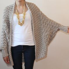 Cumberland Cardigan pattern by Jennifer Ozses This over-sized cardigan is super cozy. It features a textured basket-weave body, a textured, generous shawl collar, dolman sleeves and ribbed cuffs. It looks great paired with leggings or skinny jeans. Crochet Shrug Pattern, Crochet Coat, Cardigan Pattern, Crochet Cardigan, Crochet Shawl, Crochet Clothes, Knitting Patterns, Free Crochet, Shrug For Dresses