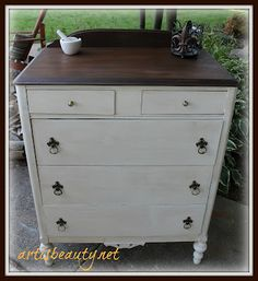 ART IS BEAUTY: Hubby's NEW to HIM dresser using @cece caldwells paint!  http://arttisbeauty.blogspot.com/2012/09/hubbys-new-to-him-dresser.html