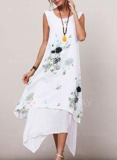 Dress - $40.99 - Floral Appliques Sleeveless High Low Shift Dress (1955189436)