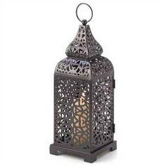 "Black Moroccan Tower Candle Lantern 13"""